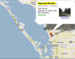 Just north of historical downtown Sarasota, HSoSC is located in Pioneer Park on 12th Street just east of Tamiami Trail
