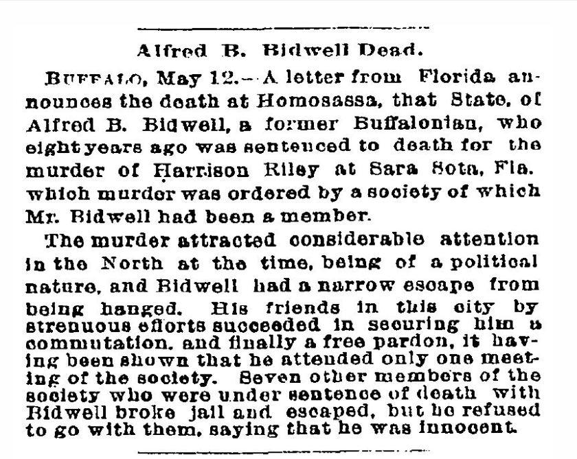 Alfred Bidwell's obituary