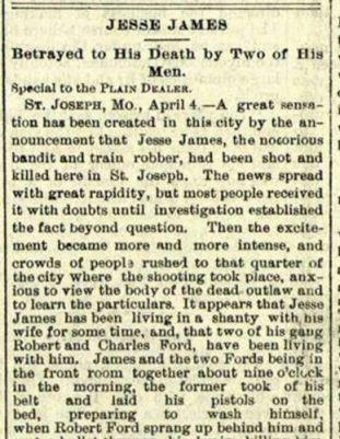 1882 Plain Dealer front page