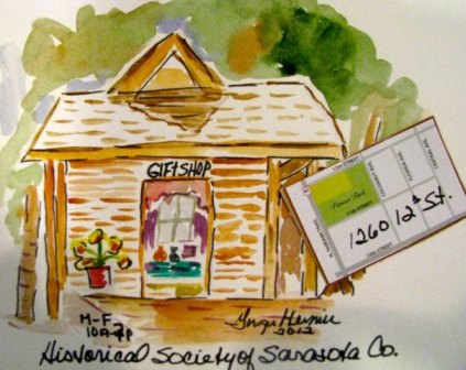 The Historical Society's shop, as portrayed by Ginger Mermin, renowned artist and past Board member of the Society