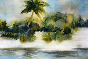 Seaside watercolor by Maggie Nevens, Sarasota artist.
