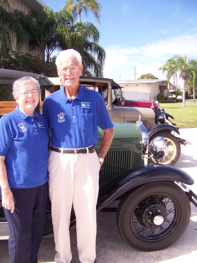 Historical Society members Lois and Ed Orr in front of Robarts Arena, Sarasota, 2012