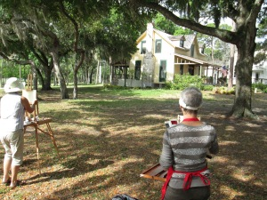 Artists enjoy the Bidwell-Wood House at the Historical Society of Sarasota County