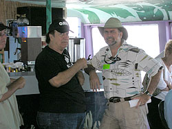 John McCarthy and a fan aboard the HSoSC History Cruise