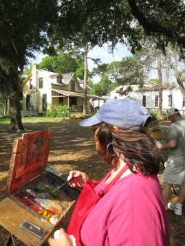 The Historical Society of Sarasota County hosts Light Chasers, a plein art artist group, in Pioneer Park