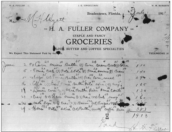 H. A. Fuller Grocery bill