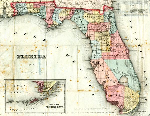 Florida map, 1853