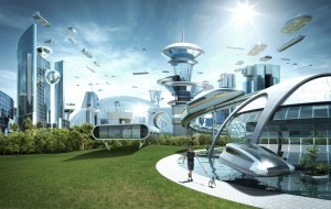 An imaginary future city.