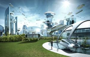 An imaginary future city.