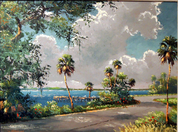 "Their palette included vibrant colors of verdant greens, sunset oranges - and blues and grays that often featured the sun or moon backlighting the scene. The Highwaymen often painted from memory as they captured scenes of the natural Florida they had grown up with, one that was yielding to the development brought on by the state's mid-Twentieth Century growth.  By necessity, the men (and one woman) painted as an alternative to the backbreaking work of picking and packing Florida citrus – a typical job for African Americans in the 1950's. Those days were still part of a racially segregated ""Jim Crow"" South, and painting, then selling their art, gave them an opportunity to succeed in a whole new way."