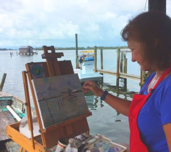 Light Chasers painter at the Net Camp, Cortez FL