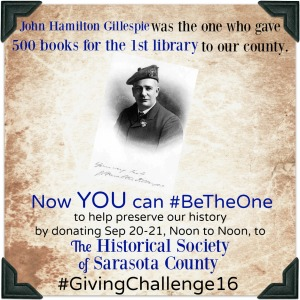 John Hamilton Gillespie wanted to #BeTheOne so he donated 500 of his books to the first Sarasota library, says HSoSC.com