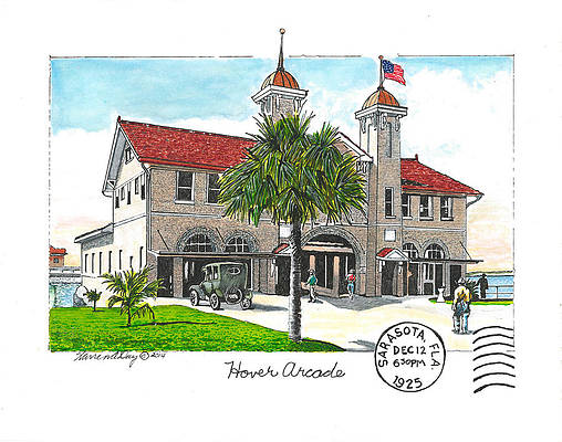 Warren Day's sketch of Hover Arcade, Sarasota FL, in the 1920's