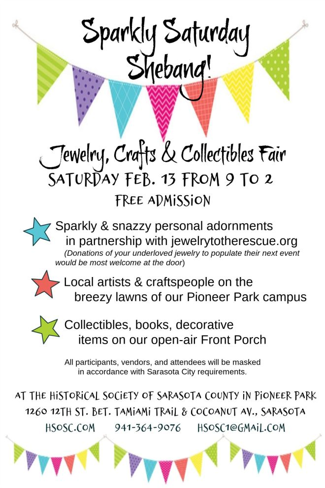 Our traditional Sparkly Saturday on Sat. Feb 13 from 9 to 2,, with the added Shebang of art, crafts, treasures and books! See you there!